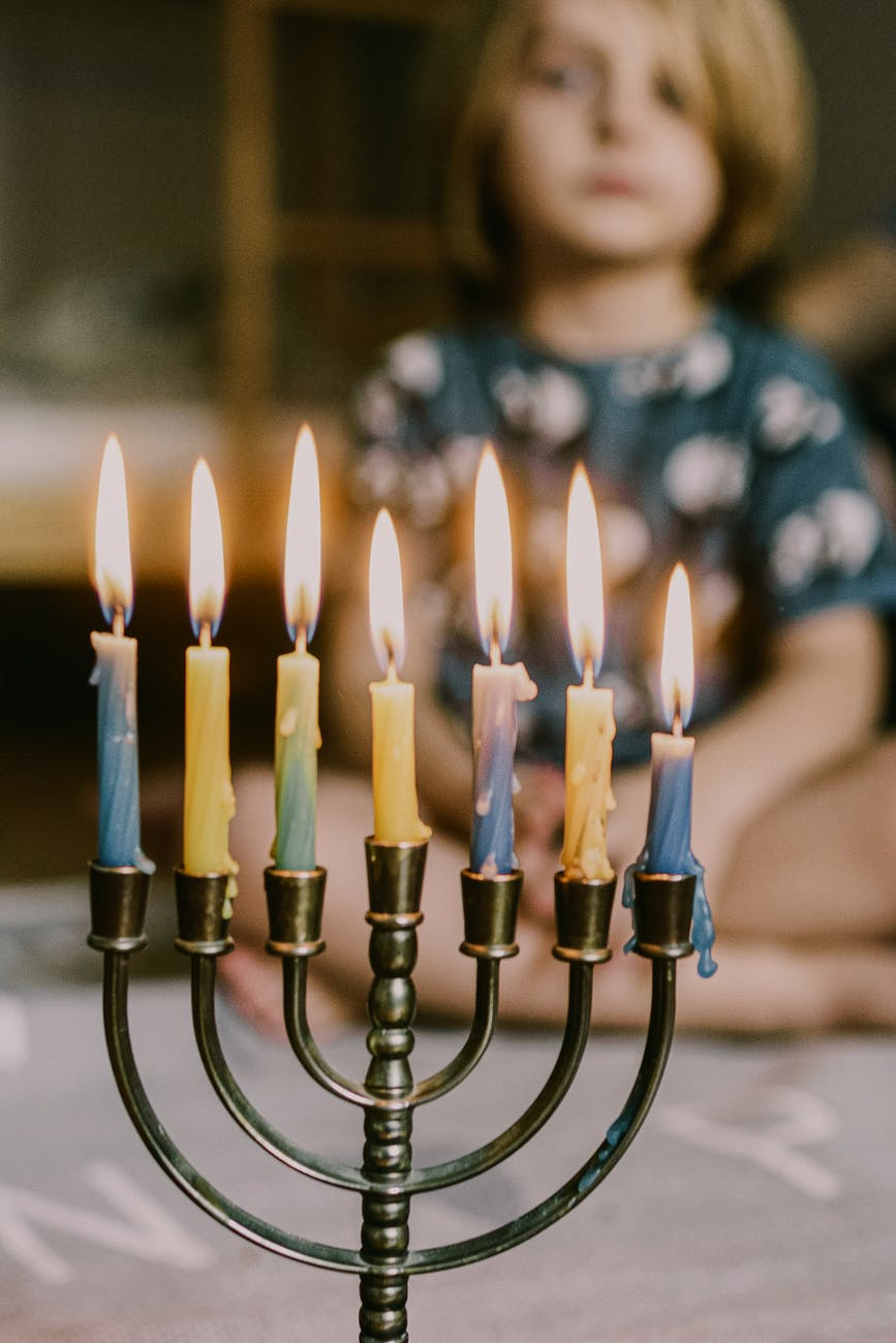 lit candles on menorah